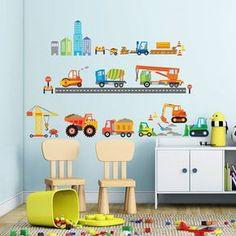 Vintage Bei den Wandstickern Baustelle Baufahrzeuge kannst Du es im Kinderzimmer ganz leicht nachspielen Die Baufahrzeuge sind von verschiedener Bauart