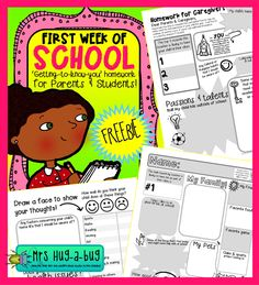 ~~FREE PRINTABLE~~  These fantastic 'first week of school homework sheets' are perfect for getting to know your new class and their families a little better!