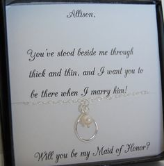 Maid of Honor Bridesmaid Necklace Will you be by SoBlessedDesigns, $36.00