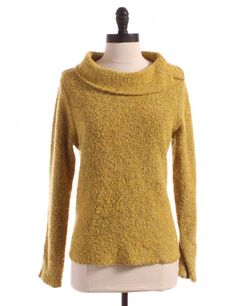 chartreuse sweater. eileen fisher. not pattern. interesting collar.