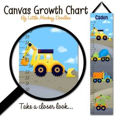 Canvas GROWTH CHART Bright Construction by LittleMonkeyDoodles, $35.00
