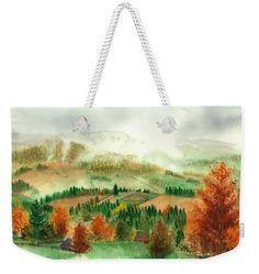 Transylvanian Autumn Weekender Tote Bag featuring the painting Transylvanian Autumn by Olivia C