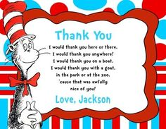 Cat in the Hat Birthday Party Thank You Note Cards Personalized Birthday Thank You Cards, Thank You Note Cards, White Envelopes, Your Cards, You And I, Thankful, Birthday Parties, Party