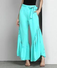 Turquoise Chiffon High-Waist Ruffle Palazzo Pants