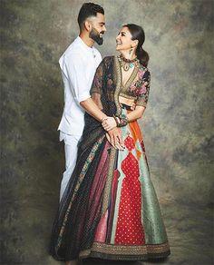 Your Favorite Bollywood Couples' Bring The Festival Fashion Inspo this Diwali Bollywood Couples, Bollywood Celebrities, Bollywood Fashion, Bollywood Actress, Anushka Sharma Virat Kohli, Virat And Anushka, Silk Lehenga, Bridal Lehenga, Virat Kohli Instagram