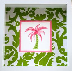 Mini Pink Palm Tree Beach Art. $44.00, via Etsy.