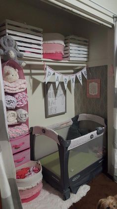 Ideas Baby Girl Nursery Organization Newborns Crib Bedding For 2019 Baby Nursery Closet, Baby Bedroom, Baby Room Decor, Girl Nursery, Crib In Closet, Themed Nursery, Room Closet, Baby Nook, Nursery Closet Organization