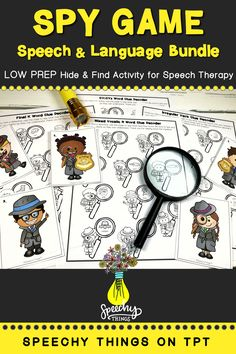 "Spy Game is a series of LOW PREP speech therapy activities that is designed to incorporate gross motor breaks. All you have to do is hide the 10 little detectives and your students will find them and help them ""decode"" their clues. Each detective corresponds to one target word or language concept. This is perfect for mixed groups - It's easy to play and so ENGAGING! Find it today on TpT! #speechtherapy #tpt #slp"