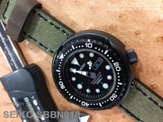 Seiko Tuna Marine Master SBBN013 1000m on 22mm MiLTAT Military Green Leather Washed Canvas Ammo Watch Strap in Black Stitches [22C22BBU55C2F09]