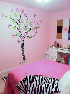 Zebra Print Tree Wall Decal with Butterflies by onehipstickerchic, $84.95