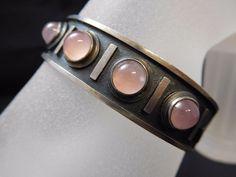 6670 || Eindrucksvolle Vintage Designer Armspange 835 Silber Rosenquarz !!