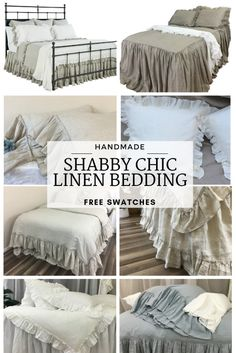 Shabby Chic Bedding, Linen Bedspread, Ruffle linen bedding, made to order to any sizes Shabby Chic Bedrooms, Shabby Chic Homes, Shabby Chic Furniture, Shabby Chic Decor, Chic Bedding, Linen Bedding, Luxury Bedding, Linen Fabric, Bed Linens