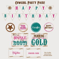 Cowgirl Party Pack - Free Printables! Perfect for a cowgirl birthday party. Pink and Turquoise by Everyday Art #printables #cowgirl #party #free