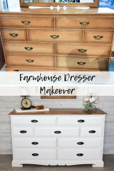 The Epitome of Farmhouse Style : White and Wood Dresser - Timeless Creations, LLC Diy Furniture Renovation, Bedroom Furniture Makeover, Diy Furniture Projects, Repurposed Furniture, Antique Furniture, Dresser Repurposed, Modern Furniture, Painted Bedroom Furniture, Furniture Cleaning