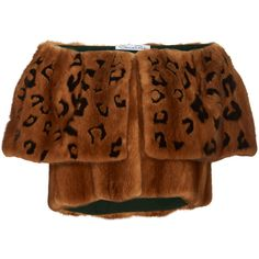 Oscar de la Renta Leopard Intarsia Mink Bolero (€8.885) ❤ liked on Polyvore featuring outerwear, jackets, brown, leopard jacket, brown cropped jacket, cropped bolero jacket, bolero jackets and mink jacket