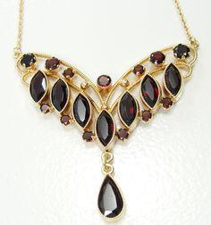 "Vintage 14K Yellow Gold Bohemian Garnet Necklace 16.5"" Art Deco Style January  #Unbranded #Lariat"