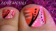 Pink and orange toe nail art