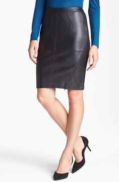 Fall Office Basic:Trouvé Leather Front Pencil Skirt
