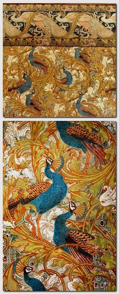 Walter Crane, Peacock garden corridor, 1898-1900. Museum of Applied Arts, Budapest. Shown is the entrance to the former private apartment of the first museum director, who was a big admirer of british design, Crane was celebrated with an exhibition in 1900.