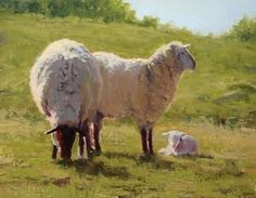 New Addition by Kathleen Dunphy Oil ~ 18 x 14 - painting of sheep and lamb