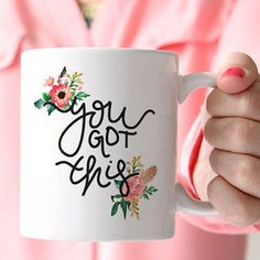 The delicate accents on this #coffeemug don't detract from the fact that its owner is totally empowered.  Client gifts or giveaways for NDDA?