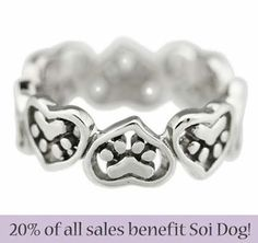 Want to buy some great gifts and help the dogs and cats of Thailand at the same time? Soi Dog Foundation has partnered with Greater Good, so you can do just that.  Greater Good has a great range of merchandise, such as this heart and paws ring, which is the ideal gift for the animal lover in your life. By following this link to purchase, Soi Dog will receive 20% of your total spend at the Greater Good online store: http://shop2give.us/SOIheartpawring