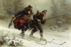 The painting Birkebeiners of Knud Bergslien 1869 Birkebeiners Torstein Skevla and Display Vald Skrukka carrying Håkon Håkonsson to Trondheim