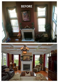 Beautiful coffered ceiling in family room coffered for Ideas for closing off a loft