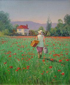 Graham Petley Direct Madame Artus and poppies - Originals Pinterest Design, All Art, Impressionist, Graham, Poppies, Art Drawings, Original Art, Artsy, Sketch