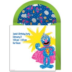 Planning a superhero birthday party? Check out this free Super Grover invitation! Adorable online invitations you can personalize and send via email. Superhero Birthday Party, Birthday Party Themes, Birthday Ideas, Sesame Street Birthday Invitations, Online Invitations, Invitation Templates, Super Hero Costumes, Big Bird, Party Guests