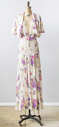vintage 1930s sheer floral silk crepe de chine maxi dress