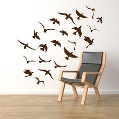Birds wall decals, window decals, vinyl stickers - seagulls flock. 22 birds wall decals on Etsy, $29.00