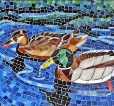 Stained glass mosaic mallards handmade by ShellyHeissDesigns