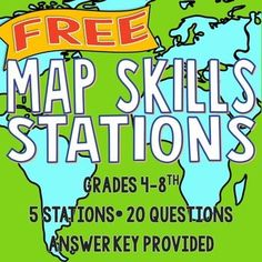 This product is also part of a bundle!: ★★★Map Skills Bundle★★★ These stations have been used by literally THOUSANDS of teachers. This activity is great for Informations About Map Skills Stations Pin Teaching Map Skills, Teaching Maps, Teaching Geography, Teaching History, Teaching Resources, History Education, Art Education, Geography Classroom, Teaching Spanish