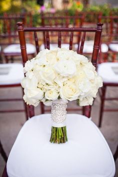 ivory bouquet, sparkly ribbon reception wedding flowers,  wedding decor, wedding flower centerpiece, wedding flower arrangement, add pic source on comment and we will update it. www.myfloweraffair.com can create this beautiful wedding flower look.
