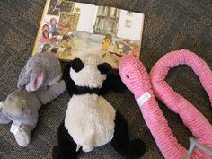Stuffed animal sleep over poses from the Chehalis Library
