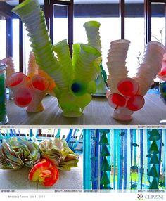 Under the Sea Theme ; coral made from cups