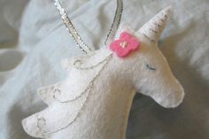 Hand Embroidered Felt Unicorn