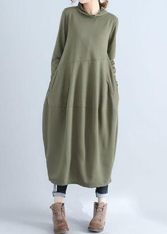 Fashion Sleeve Pocket Army Green Maxi Dress