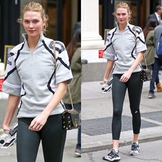 Karlie Kloss post workout in Adidas