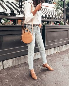 girlmeetsgold | LIKEtoKNOW.it spring style, summer style, summer outfits, white ruffle tops, neutral style, levi's style, classic style, nude loafers outfit, jeans and white top outfit, madewell style, #springstyle #outfits #outfitoftheday #outfitideas