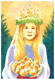 Christmas Angel carrying Saint Lucia Rolls