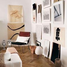 Living room, art wall, gallery wall, mid-century furniture, parquet floor