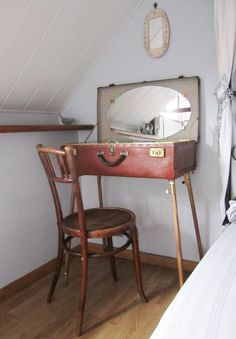 vintage suitacse repurposed as a travel dressing table with oval mirror, pink Toile de Jouy and beige polka dot lining