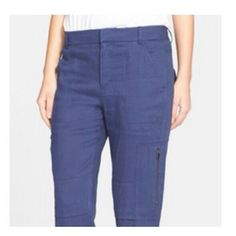 Vince. Linen Cargo Pants Navy blue Vince cargo pants.  A super comfortable blend of linen, spandex, and viscose.  Tapered leg at ankles, wear with flats and a button down blouse for a casual look.  Two hidden zipper pockets mid-thigh. Vince Pants Ankle & Cropped