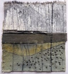 Check the link to Debbie's website to see loads of glorious pieces - Marshscape Collage Cotton duck, linen, wax, metal by Debbie Lyddon - this rugged landscape is a perfect example of an empty space. Textile Fiber Art, Textile Artists, Abstract Landscape, Abstract Art, Landscape Design, Creative Textiles, Guache, Encaustic Art, Art Plastique