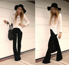 Stretchy black flare pants, floppy hat and semi-sheer long sleeve...I could live in this outfit.