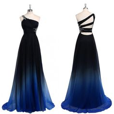 Black Chiffon One shoulder Gradient Popular Unique Pretty Prom Dresses. The long one shoulder prom dress is fully lined, 4 bones in the bodice, chest pad in the bust, lace up back or zipper back are a