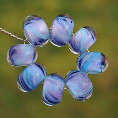 Lavender Breeze  Set of 8 Encased Lampwork Beads  Dan O by koregon, $22.00