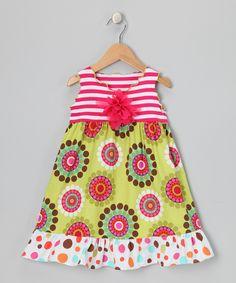 Pink & Green Crazy Dot Ruffle Dress - Toddler & Girls